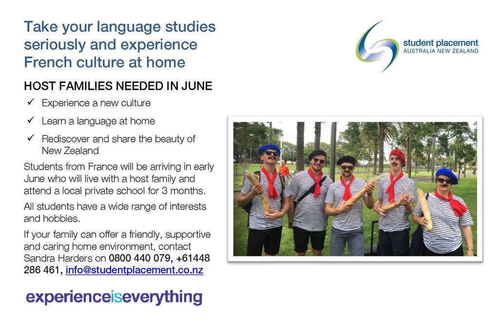 French NZ Hosting Flyer For Schools 2019 SPANZ
