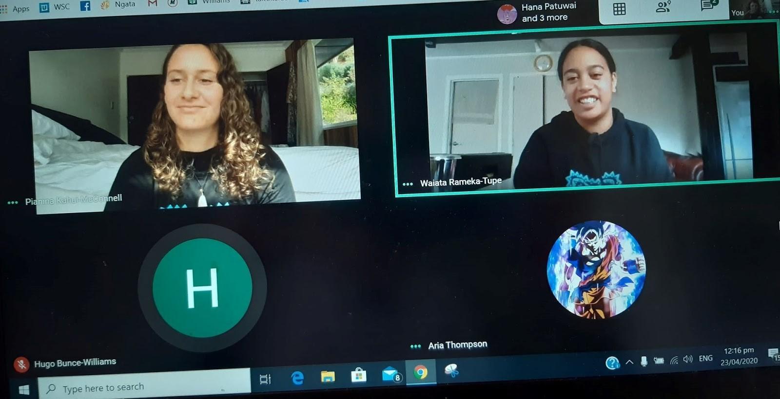 Pia And Waiata On Google Meet With The Kaitiakitanga Group.